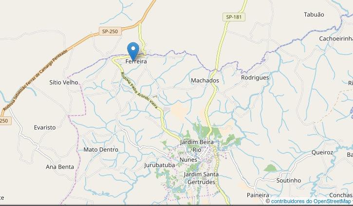 mapa de ribeirao grande bairro ferreira