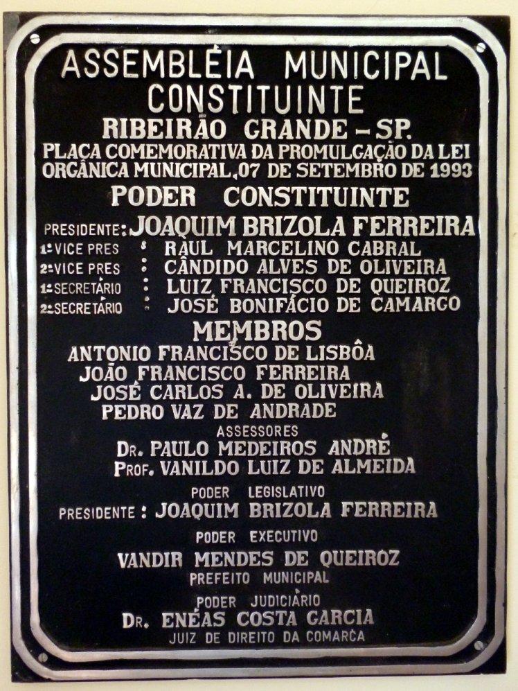 placa-comemorativa-ribeirao-grande-sp-camaramunicipal-lei-organica-1993