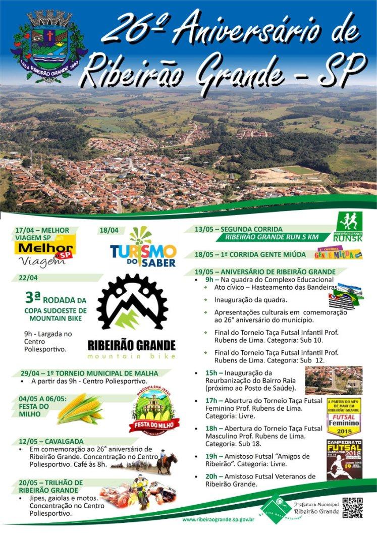 Cartaz de Aniversário de Ribeirão Grande 2018
