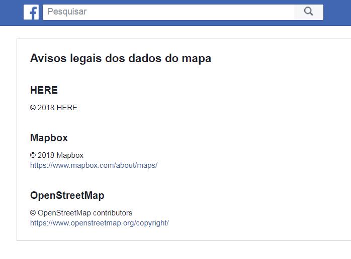 Facebook: Avisos legais dos dados do mapa